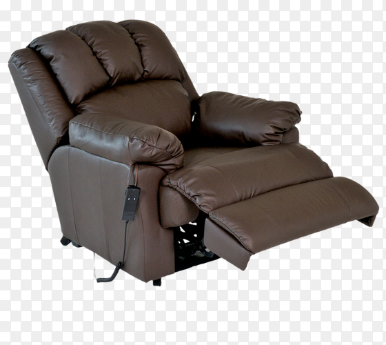 Brown reclining leather chair on transparent background PNG