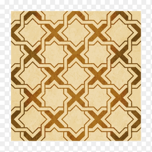 Brown watercolor texture, seamless pattern, Islamic star geometry cross frame on transparent background PNG