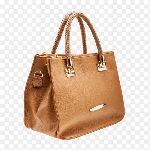 Brown women bag isolated on transparent background PNG