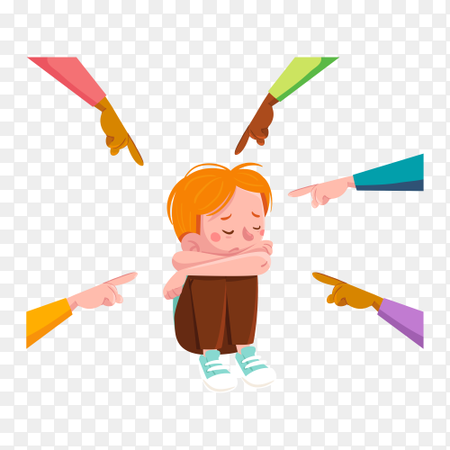 Bullying illustration concept on transparent background PNG