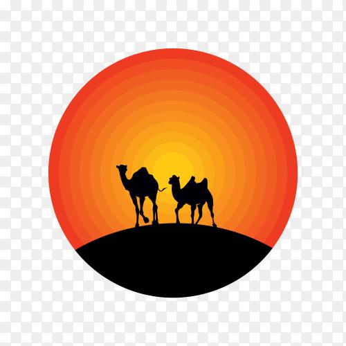 Camel logo design illustration on transparent background PNG