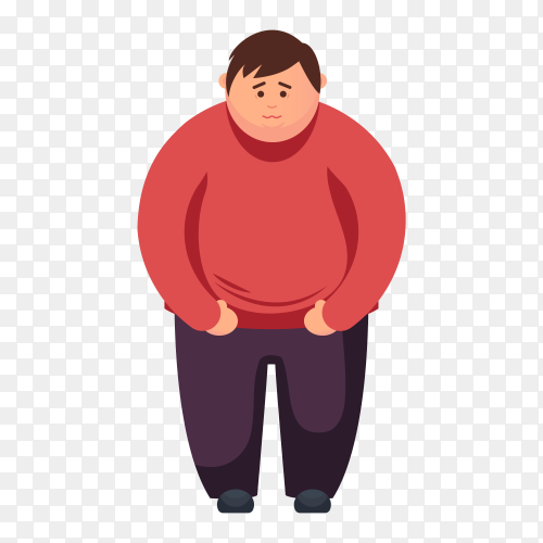 Cartoon Fat guy on transparent background PNG
