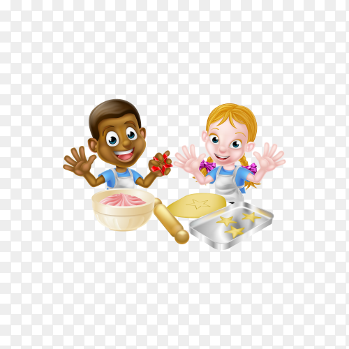 Cartoon boy and girl children, one black one white, dressed as chefs and bakers baking cakes and cookies on transparent background PNG