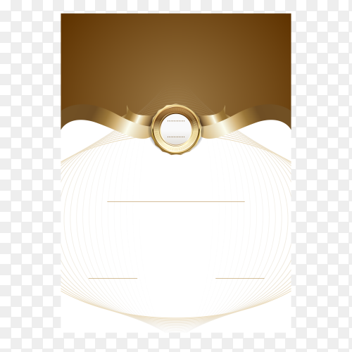 Certificate template with gold decorations on transparent background PNG