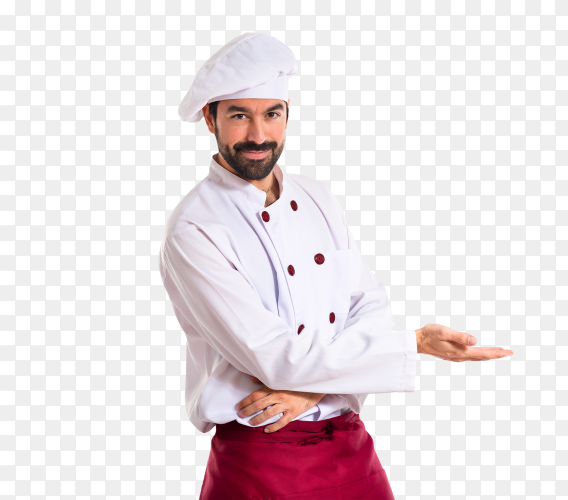 Chef presenting something on transparent background PNG