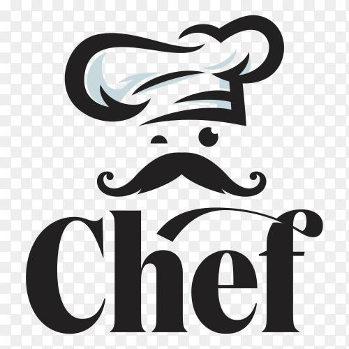 Chef restaurant logo template on transparent background PNG