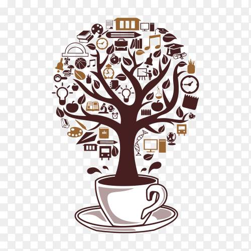 Coffee tree design on transparent background PNG