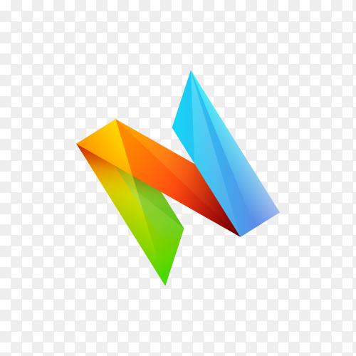 Colorful Letter N logo design template on transparent background PNG