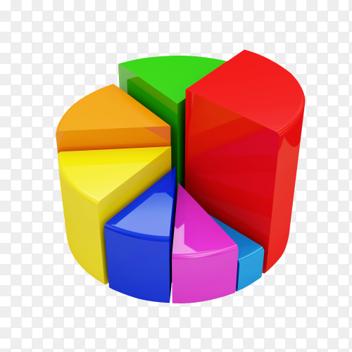 Colorful pie chart isolated on transparent background PNG