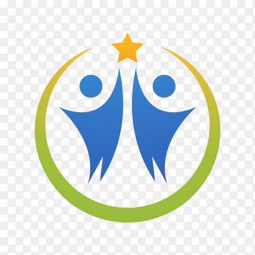 Community care logo design on transparent background PNG