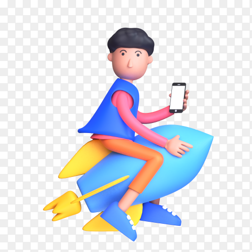 Concept of launch product and clean up phone speed with man riding on a rocket and holding smartphone on transparent background PNG