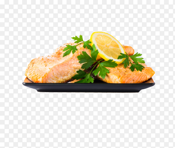 Cooked salmon fish fillet on transparent background PNG