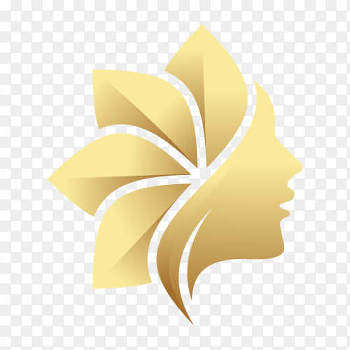 Creative golden beauty skin care logo design on transparent background PNG