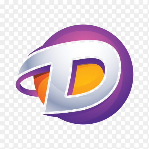 D Logo – Abstract Letter D 3D Logo on transparent background PNG