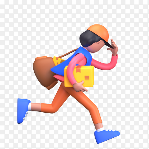 Delivery boy running with packages and bag for speedy delivery at home on transparent background PNG