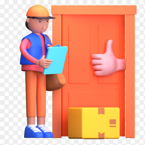 Delivery man drop order parcel to the door to door with a clipboard of list and bag on transparent background PNG