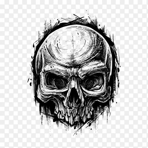 Detailed graphic human skull trash polka line art on transparent background PNG