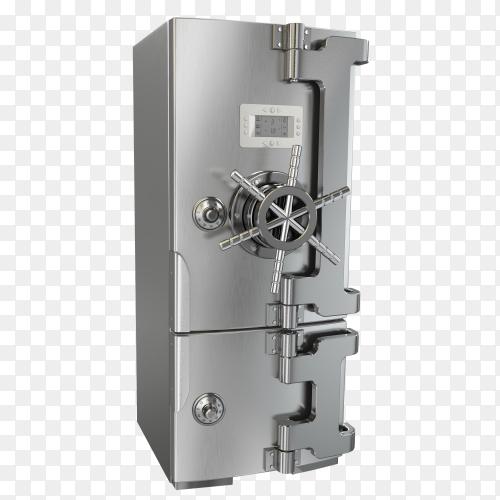 Dieting concept. Refrigerator as safe deposit box on transparent background PNG