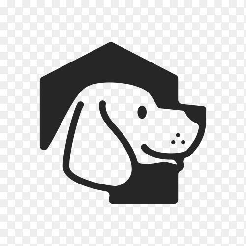 Dog house hipster vintage logo icon illustration on transparent background PNG
