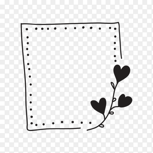 Doodle black and white line frame and border isolated on transparent background PNG