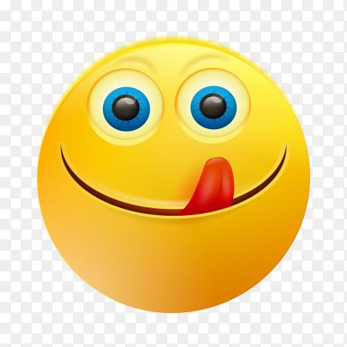 Emoji face savoring food on transparent background PNG