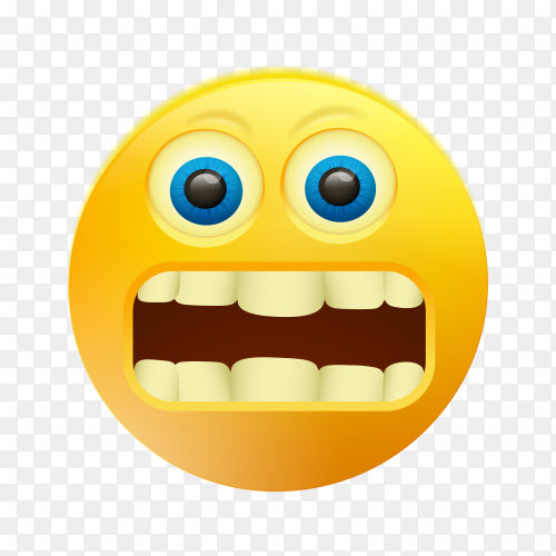 Fearful emoji face on transparent background PNG