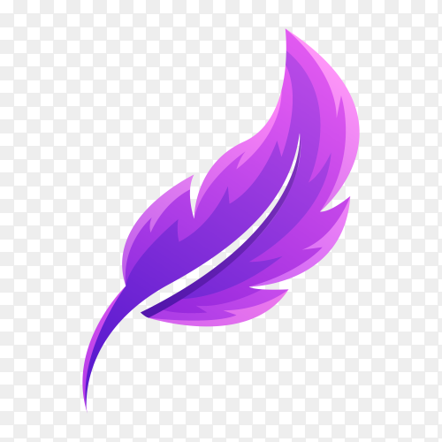 Feather logo design template on transparent background PNG