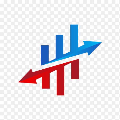 Finance chart logo design on transparent background PNG
