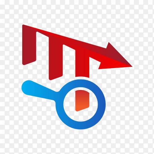 Finance chart logo illustration on transparent background PNG