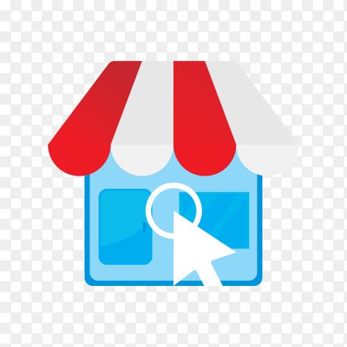 Flat design online shop logo on transparent background PNG