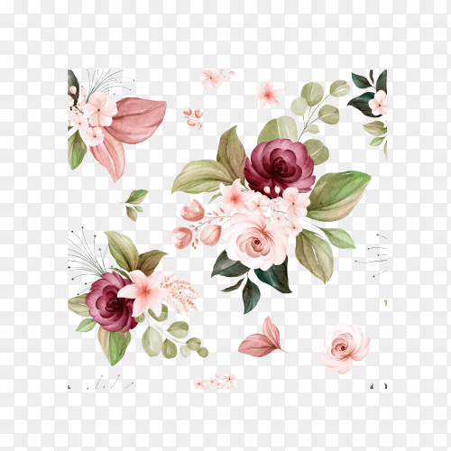 Floral seamless pattern of brown and burgundy watercolor roses on transparent background PNG
