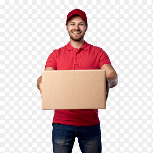Front view delivery male with package on transparent background PNG