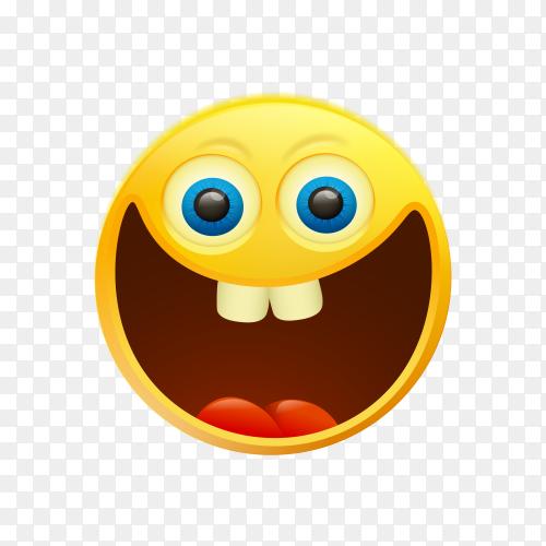Funny emoji face on transparent background PNG
