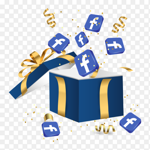 Gift box and Facebook icons template on transparent background PNG