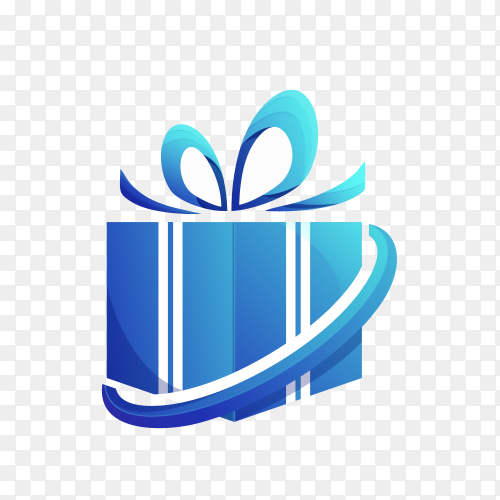 Gift logo design template on transparent background PNG