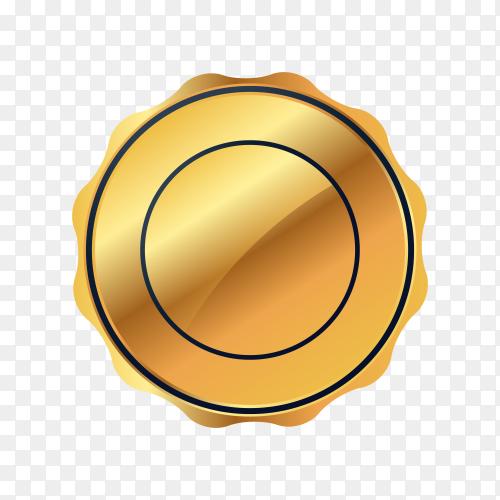 Gold circle metal badge on transparent background PNG