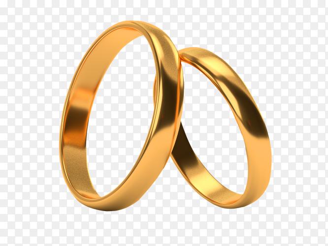 Golden Engagement rings on transparent background PNG
