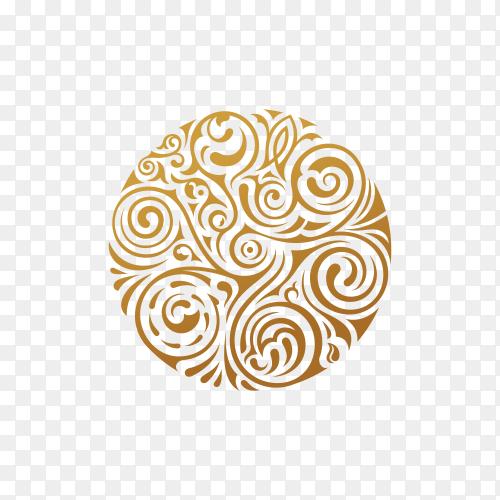 Golden Round floral pattern on transparent background PNG