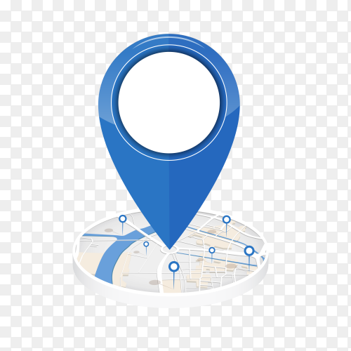 GPS icon on center of the city map with pin location on transparent background PNG