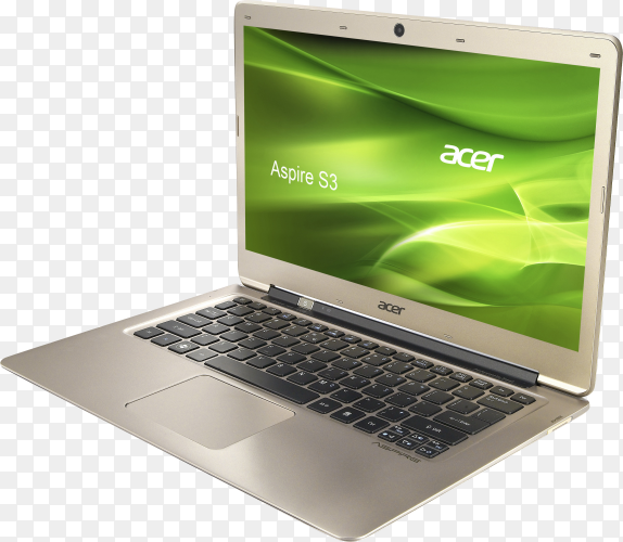 Gray laptop isolated on transparent background PNG
