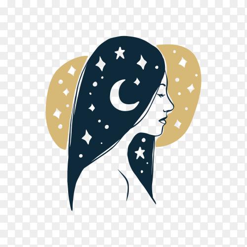 Hair salon logo on transparent background PNG