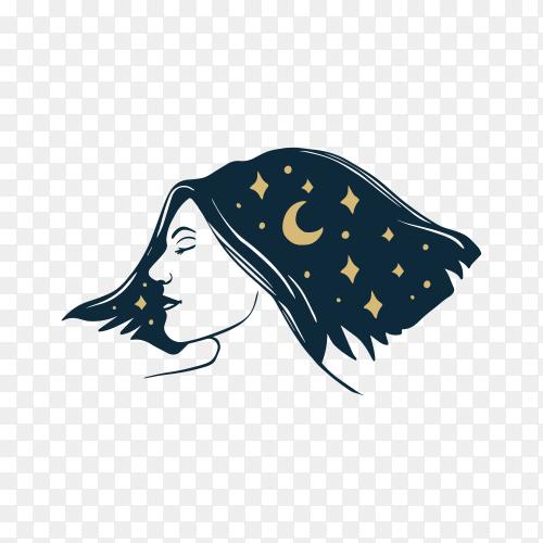 Hair salon logo template on transparent background PNG