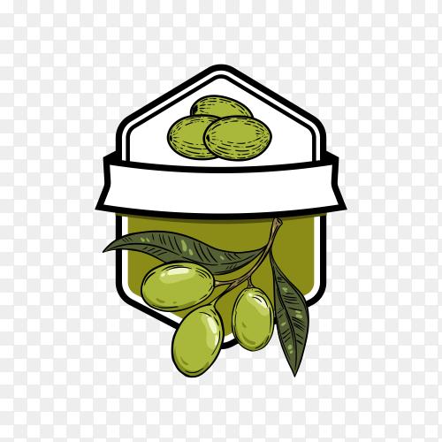 Hand drawn Olive oil logo design on transparent background PNG