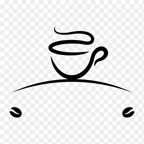 Hand drawn coffee logo design on transparent background PNG