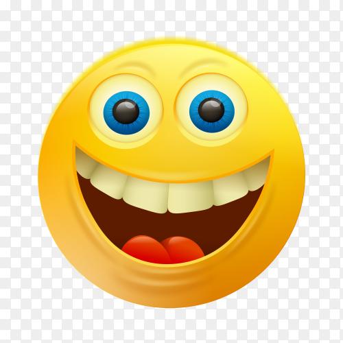 Happy emoji face on transparent background PNG