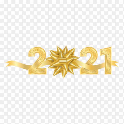 Happy new year 2021 text design. with golden numbers and snowflake on transparent background PNG