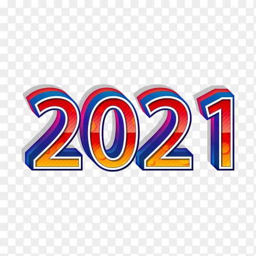 Happy new year 2021 vector template on transparent background PNG