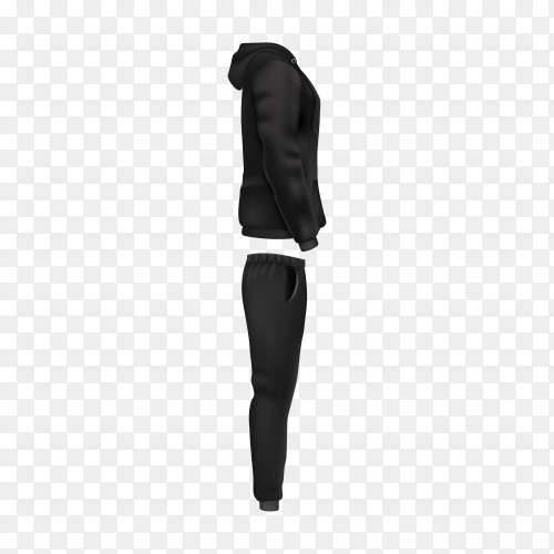Hoodie and pants in black men's sportswear isolated on transparent background PNG