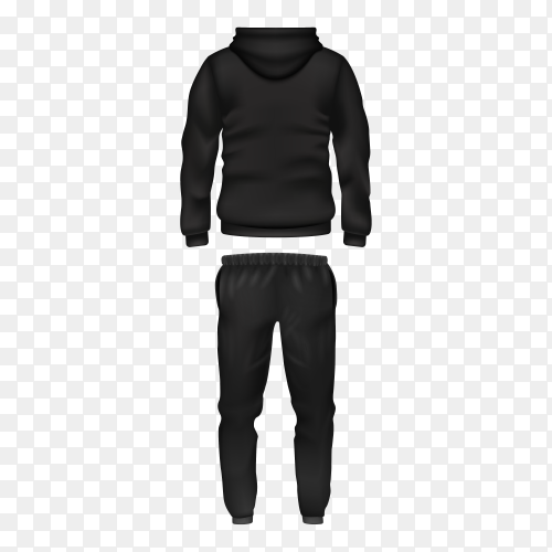 Hoodie and pants in black men's sportswear on transparent background PNG