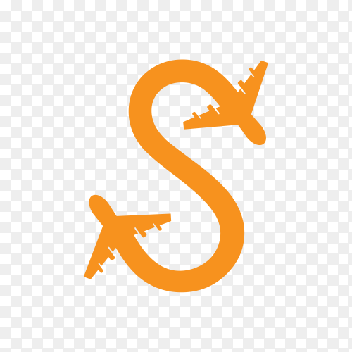 Initial s logo with travel  in orange color on transparent background PNG